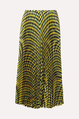 Joseph Abbot Pleated Checked Silk-twill Midi Skirt - Yellow