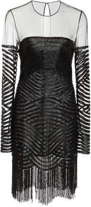 Naeem Khan Illusion Neckline Beaded Tulle Cocktail Dress