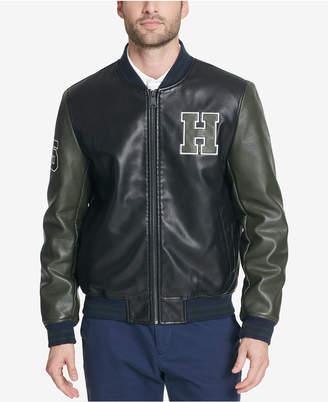 Tommy Hilfiger Men Faux-Leather Varsity Jacket