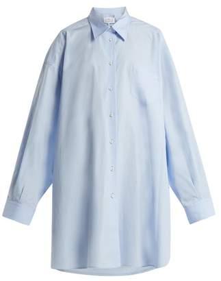 Maison Margiela Oversized Point Collar Cotton Shirt - Womens - Light Blue