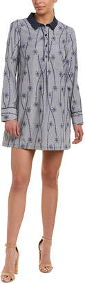 BCBGeneration Embroidered Linen-Blend Shirtdress