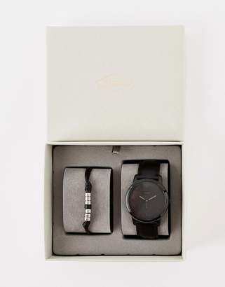 Fossil FS5500SET Minimalist leather watch & bracelet gift set