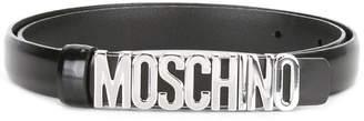 Moschino slim logo plaque belt