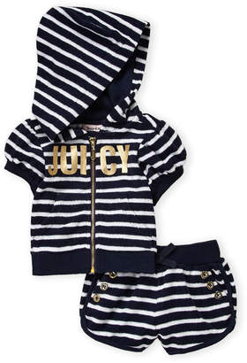 Juicy Couture Infant Girls) Navy French Terry Striped Hoodie & Shorts Set
