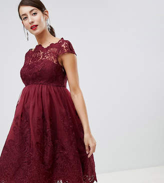 Chi Chi London Maternity lace detail midi dress