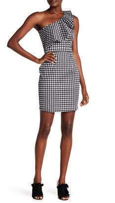 Rachel Roy Gingham One Shoulder Dress