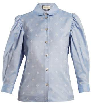 Gucci Bee Jacquard Oxford Cotton Shirt - Womens - Blue Multi