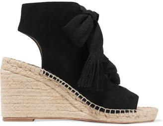 Chloé Harper Lace-up Suede Espadrille Wedge Sandals - Black