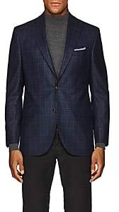 Piattelli MEN'S CHECKED WOOL TWO-BUTTON SPORTCOAT