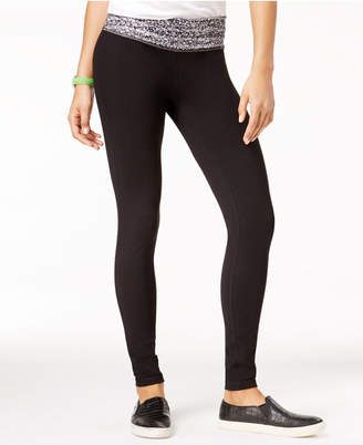 Material Girl Active Juniors' Printed-Waist Yoga Leggings
