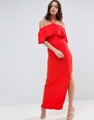ASOS Ruffle Bandeau With Neck Strap Maxi Dress $40 thestylecure.com
