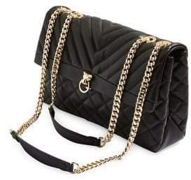 Topshop Quilted Faux Leather Chain Shoulder Bag