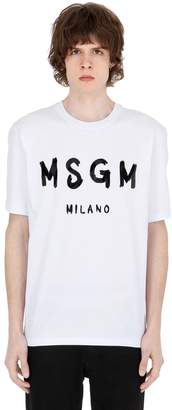 MSGM Vinyl Logo Print Cotton Jersey T-Shirt