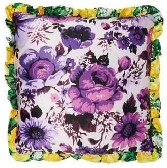 Richard Quinn Floral Print Satin Cushion - Womens - Purple Multi