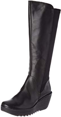 Fly London Womens Yeve Winter Leather Snow Wedge Heel Knee Boots - 9