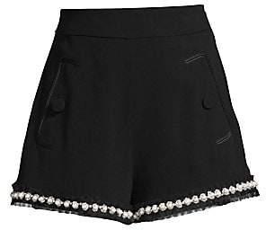 Alexis Women's Kendrick Imitation Pearl-Trim A-Line Shorts
