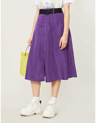 B+AB Belted high-waist flared satin skirt