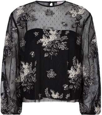 RED Valentino Mesh Floral-Embroidered Top