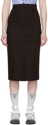 Prada Black and Red Denim Pencil Skirt
