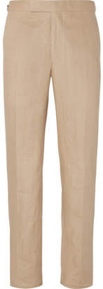 Richard James Beige Hyde Slim-Fit Linen Suit Trousers