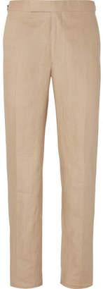 Richard James Beige Hyde Slim-fit Linen Suit Trousers