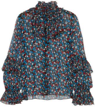 Anna Sui Fruits & Florals Ditsy Daze Floral-print Silk-chiffon Blouse - Blue
