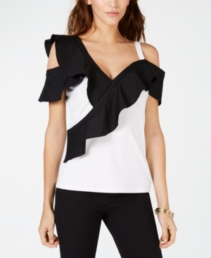 INC International Concepts I.n.c. Colorblocked-Ruffle Cold-Shoulder Top, Created for Macy's