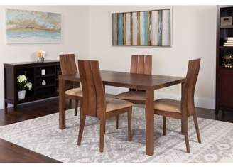 Flash Furniture Elston 5 Piece Walnut Wood Dining Table Set with Wide Slat Back Wood Dining Chairs - Padded Seats