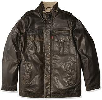 Levi's Men's Big & Tall Vintage Deer Faux Leather Sherpa Military Jacket