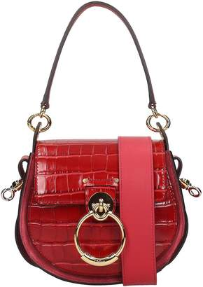Chloé Tess Shoulder Bag In Red Suede And Leather