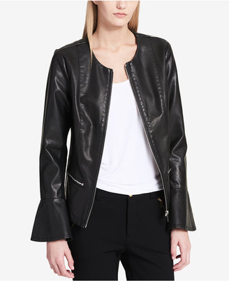 Calvin Klein Faux-Leather Flared-Sleeve Moto Jacket $129.50 thestylecure.com