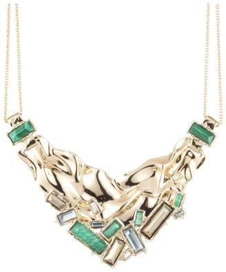 Alexis Bittar Crumpled Gold Stone Studded Bib Necklace