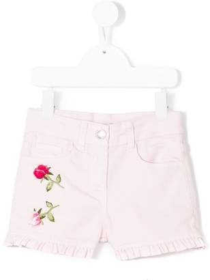 MonnaLisa rose-embroidered denim shorts