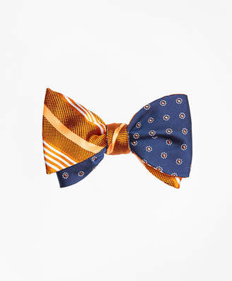 Brooks Brothers Tonal Music Stripe with Framed Polka Dot Reversible Bow Tie