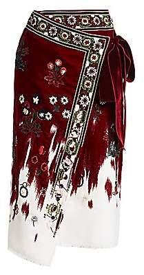 Oscar de la Renta Women's Embroidered Velvet Midi Wrap Skirt
