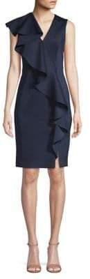 Eliza J V-Neck Ruffled Sheath Dress