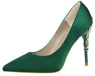 coollight Women Pumps Rhinestones Platform High Heel Satin Evening Wedding Dress Shoes