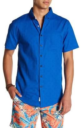 Onia Jack Print Short Sleeve Trim Fit Linen Shirt