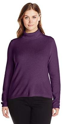 Lark & Ro Women's Plus-Size 100% Cashmere Slim-Fit Turtleneck Sweater