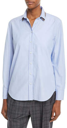 Brunello Cucinelli Button-Down Long-Sleeve Chambray Blouse w/ Monili Collar
