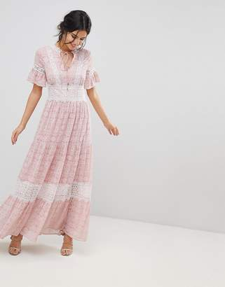 Forever New Printed Maxi Tea Dress With Lace Trim