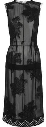 Derek Lam Studded Crepe-Trimmed Fil Coupé Chiffon Dress