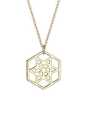 Elli Women Necklace Hexagon Gold Plated 925 Silber Length 45cm 0106491016