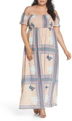 Glamorous Patchwork Print Off the Shoulder Maxi Dress