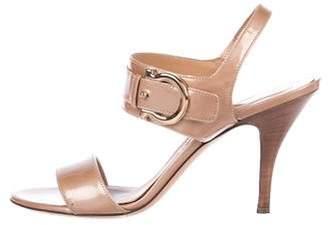 Salvatore Ferragamo Patent Leather Mid-Heel Sandals