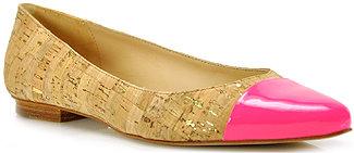 Kate Spade Elina - Cork Ballet Flat with Flourescent Pink Toe Cap