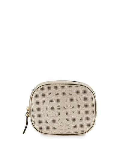 Tory Burch Tory Burch Logo-Perforated Round Cosmetic Bag, Gold