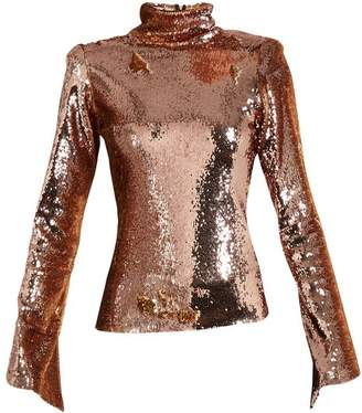Halpern - Sequin Embellished High Neck Top - Womens - Gold
