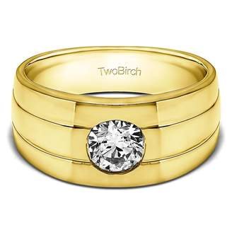 Gents TwoBirch 14k Yellow Gold Wedding Band Forever Brilliant Moissanite(0.64Ct)Size 3 To 15 in 1/4 Size Intervals