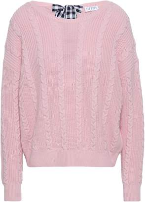 Claudie Pierlot Bow-detailed Cable-knit Wool And Cotton-blend Sweater